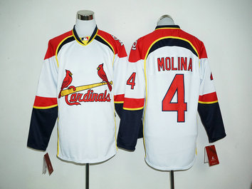 Cardinals 4 Yadier Molina White Long Sleeve MLB Jersey