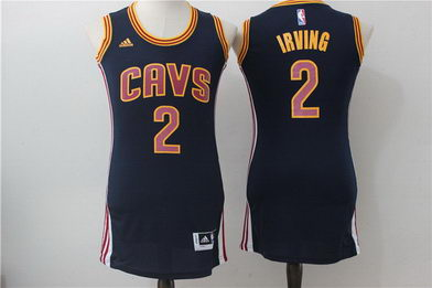 Cavaliers 2 Kyrie Irving Navy Women Swingman Stitched NBA Jersey