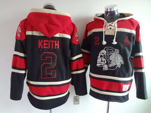 Chicago Blackhawks #2 Duncan Keith Old Time Hockey Black Ice Skulls Hoodie