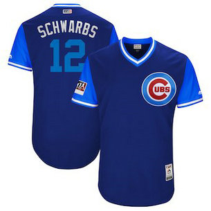 Chicago Cubs #12 Kyle Schwarber Schwarbs Majestic Royal 2018 Players' Weekend Men's Authentic Jersey