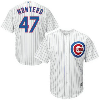 Chicago Cubs #47 Miguel Montero Majestic Home White Official Men's Cool Base Replica Player Jersey