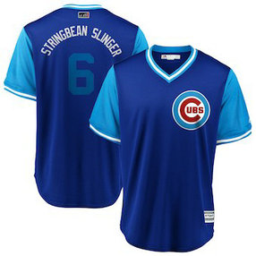 Chicago Cubs #6 Carl Edwards Jr. Stringbean Slinger Majestic Royal 2018 Players' Weekend Men's Cool Base Jersey