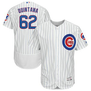 Chicago Cubs #62 Jose Quintana Majestic Home White Flex Base Men's Authentic Collection Player Jersey
