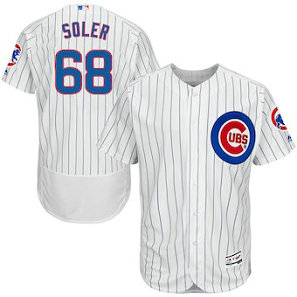 Chicago Cubs #68 Jorge Soler Majestic Home White Flex Base Men's Authentic Collection Player Jersey