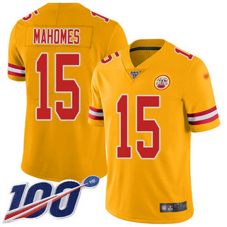 Chiefs #15 Patrick Mahomes Gold Men's Stitched Football Limited Inverted Legend 100th Season Jersey
