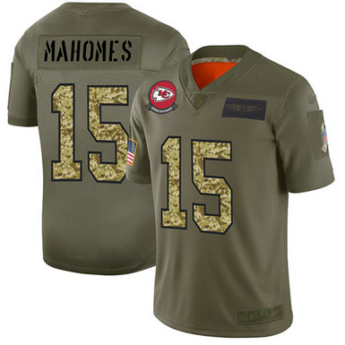 Chiefs #15 Patrick Mahomes Olive-Camo Men's Stitched Football Limited 2019 Salute To Service Jersey