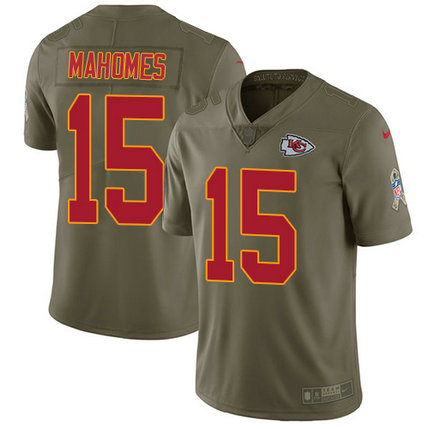 Chiefs #15 Patrick Mahomes Olive Men's Stitched Football Limited 2017 Salute to Service Jersey