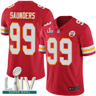 Chiefs #99 Khalen Saunders Red Team Color Super Bowl LIV Bound Men's Stitched Football Vapor Untouchable Limited Jersey