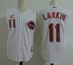 Cincinnati Reds 11 Barry Larkin White Cooperstown Collection Player MLB Jersey