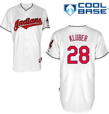 Cleveland Indians #28 Corey Kluber White Jersey