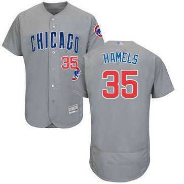 Cubs #35 Cole Hamels Grey Flexbase Authentic Collection Road Stitched MLB Jersey