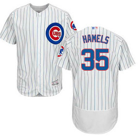 Cubs #35 Cole Hamels White Flexbase Authentic Collection Stitched MLB Jersey