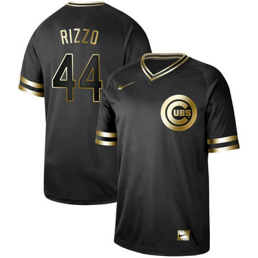 Cubs #44 Anthony Rizzo Black Gold Nike Cooperstown Collection Legend V Neck Jersey
