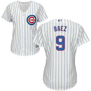 Cubs #9 Javier Baez White(Blue Strip) Home Women's Stitched Baseball Jersey