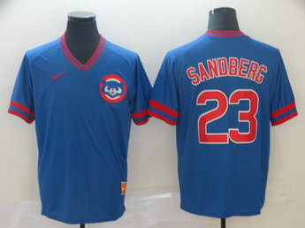 Cubs 23 Ryne Sandberg Blue Throwback Jersey