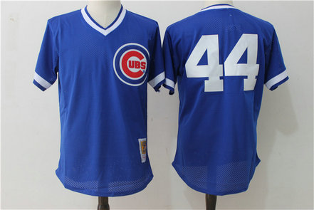 Cubs 44 Anthony Rizzo Blue Cooperstown Collection Mesh Batting Practice Jersey