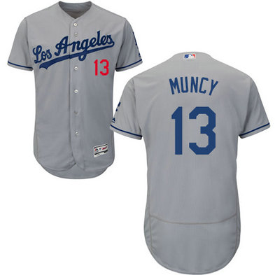Dodgers #13 Max Muncy Grey Flexbase Authentic Collection Stitched MLB Jersey