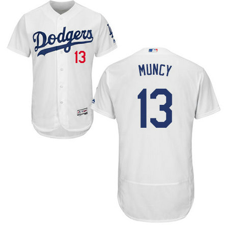 Dodgers #13 Max Muncy White Flexbase Authentic Collection Stitched MLB Jersey