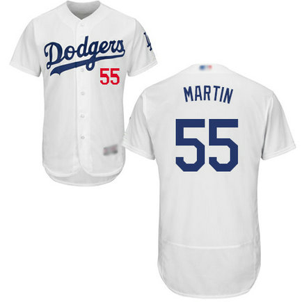 Dodgers #55 Russell Martin White Flexbase Authentic Collection Stitched MLB Jersey