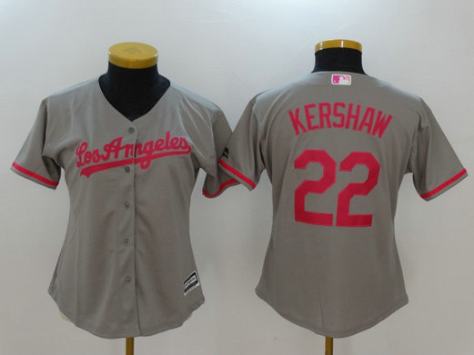 Dodgers 22 Clayton Kershaw Gray Women Mother's Day Cool Base Jersey
