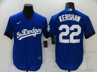 Dodgers 22 Clayton Kershaw Royal 2021 City Connect Cool Base Jersey