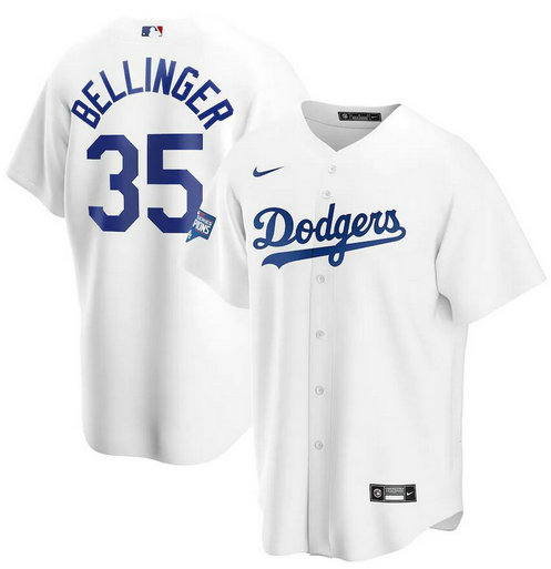 Dodgers 35 Cody Bellinger White Nike 2020 World Series Champions Cool Base Jersey