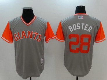 Giants 28 Buster Posey Buster Majestic Gray 2017 Players Weekend Nickname Jersey