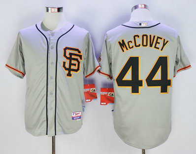 Giants 44 Willie McCovey Grey Cool Base Jersey