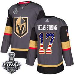 Golden Knights #17 Vegas Strong Grey Home Authentic USA Flag 2018 Stanley Cup Final Stitched NHL Adidas Jersey