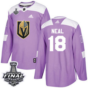 Golden Knights #18 James Neal Purple Authentic Fights Cancer 2018 Stanley Cup Final Stitched NHL Adidas Jersey