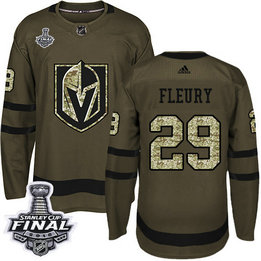 Golden Knights #29 Marc-Andre Fleury Green Salute To Service 2018 Stanley Cup Final Stitched NHL Adidas Jersey