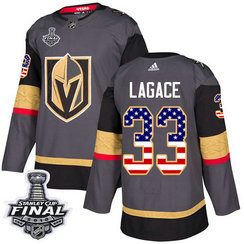 Golden Knights #33 Maxime Lagace Grey Home Authentic USA Flag 2018 Stanley Cup Final Stitched NHL Adidas Jersey