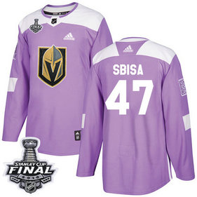 Golden Knights #47 Luca Sbisa Purple Authentic Fights Cancer 2018 Stanley Cup Final Stitched NHL Adidas Jersey