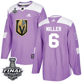 Golden Knights #6 Colin Miller Purple Authentic Fights Cancer 2018 Stanley Cup Final Stitched NHL Adidas Jersey
