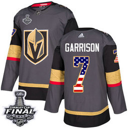 Golden Knights #7 Jason Garrison Grey Home Authentic USA Flag 2018 Stanley Cup Final Stitched NHL Adidas Jersey