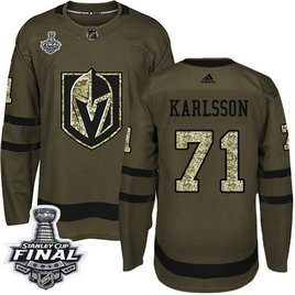 Golden Knights #71 William Karlsson Green Salute To Service 2018 Stanley Cup Final Stitched NHL Adidas Jersey