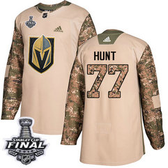 Golden Knights #77 Brad Hunt Camo Authentic 2017 Veterans Day 2018 Stanley Cup Final Stitched NHL Adidas Jersey
