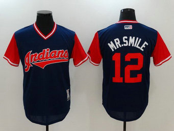 Indians 12 Francisco Lindor Mr. Smile Majestic Navy 2017 Players Weekend Team Nickname Jersey