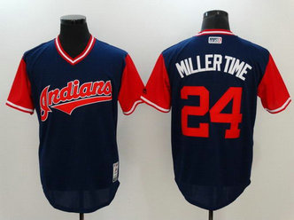 Indians 24 Andrew Miller Miller Time Majestic Navy 2017 Players Weekend Nickname Jersey