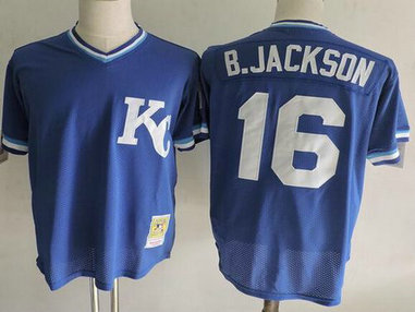 Kansas City Royals #16 Bo Jackson Mitchell & Ness Royal 1989 Authentic Cooperstown Collection Batting Mesh Practice Jersey