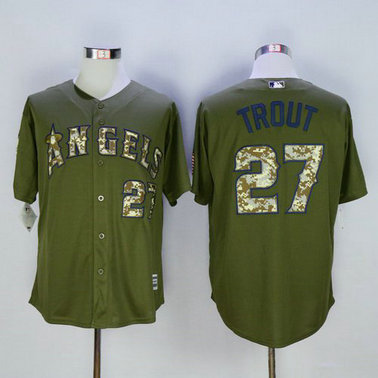 LA Angels Of Anaheim #27 Mike Trout Green Salute To Service Majestic Baseball Jersey