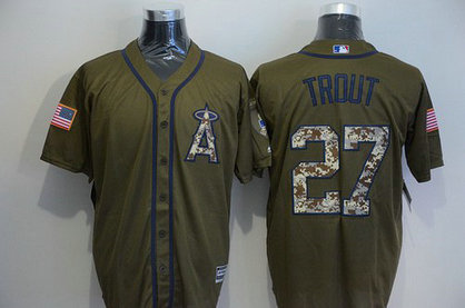 LA Angels Of Anaheim #27 Mike Trout Green Salute To Service Majestic Baseball Jersey-A Logo