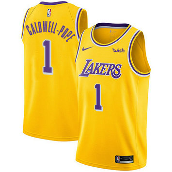 Lakers #1 Kentavious Caldwell-Pope Gold Basketball Swingman Icon Edition Jersey
