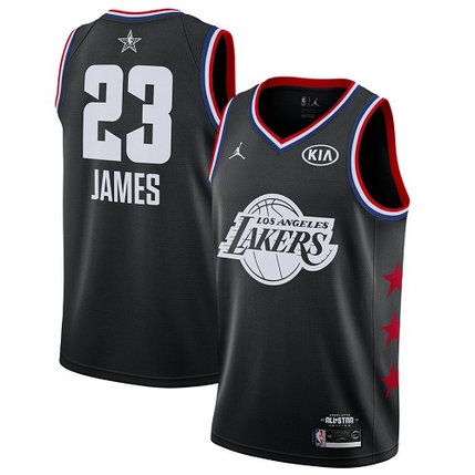 Lakers #23 LeBron James Black Basketball Jordan Swingman 2019 All-Star Game Jersey