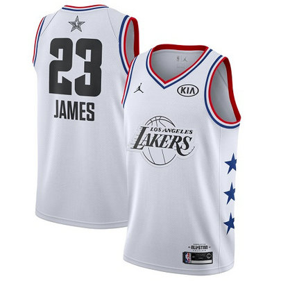 Lakers #23 LeBron James White Basketball Jordan Swingman 2019 All-Star Game Jersey