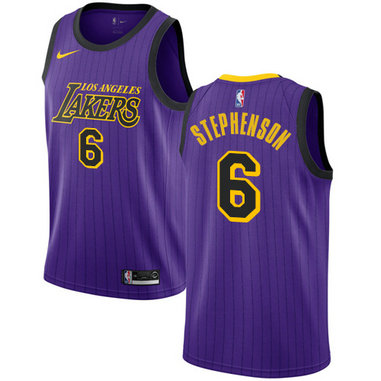 Lakers #6 Lance Stephenson Purple Basketball Swingman City Edition 2018-19 Jersey