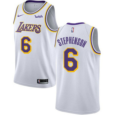 Lakers #6 Lance Stephenson White Basketball Swingman Association Edition Jersey