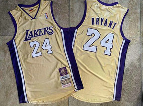 Lakers 24 Kobe Bryant Gold Hall Of Fame Memorial Edition Embroidered Jersey