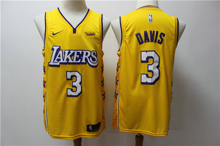 Lakers 3 Anthony Davis Yellow 2019-20 Nike City Edition Swingman Jersey