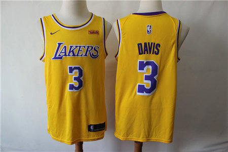 Lakers 3 Anthony Davis Yellow Nike Swingman Jersey